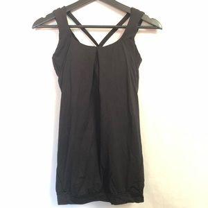 Lululemon Strappy Black Tank Top Sports Bra Size 6